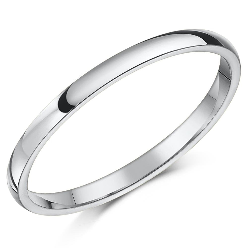 Shaped Wedding Band: 18ct White Gold ''Court'' Shaped Wedding Ring
