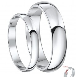 His & Her's 3&5mm Palladium Court Shaped Wedding Rings