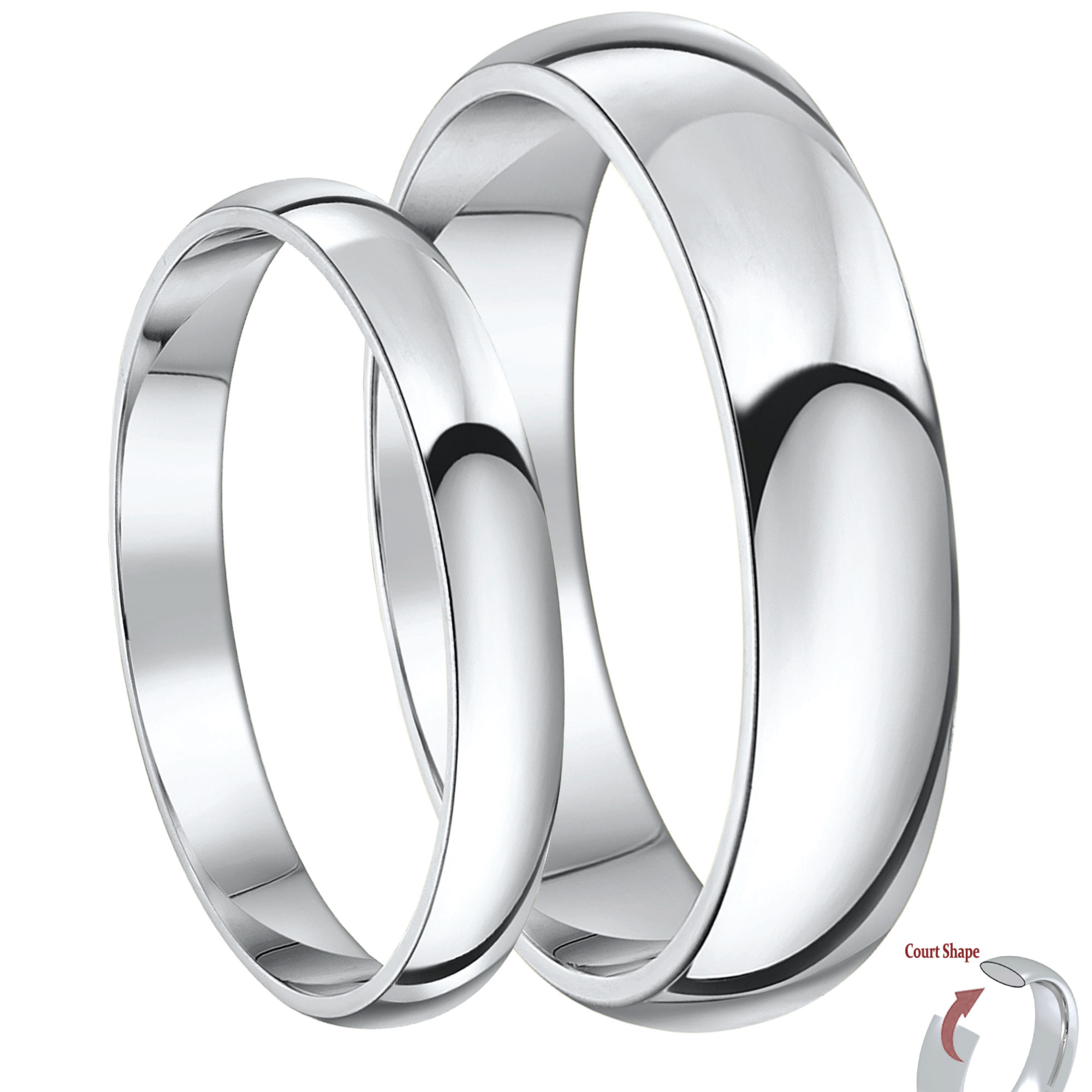His & Hers 3&5mm Heavy Weight Palladim Court Shaped 950 Wedding
