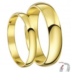 His & Hers 3&5mm 9ct Yellow Gold Court Shaped Wedding Ring Set