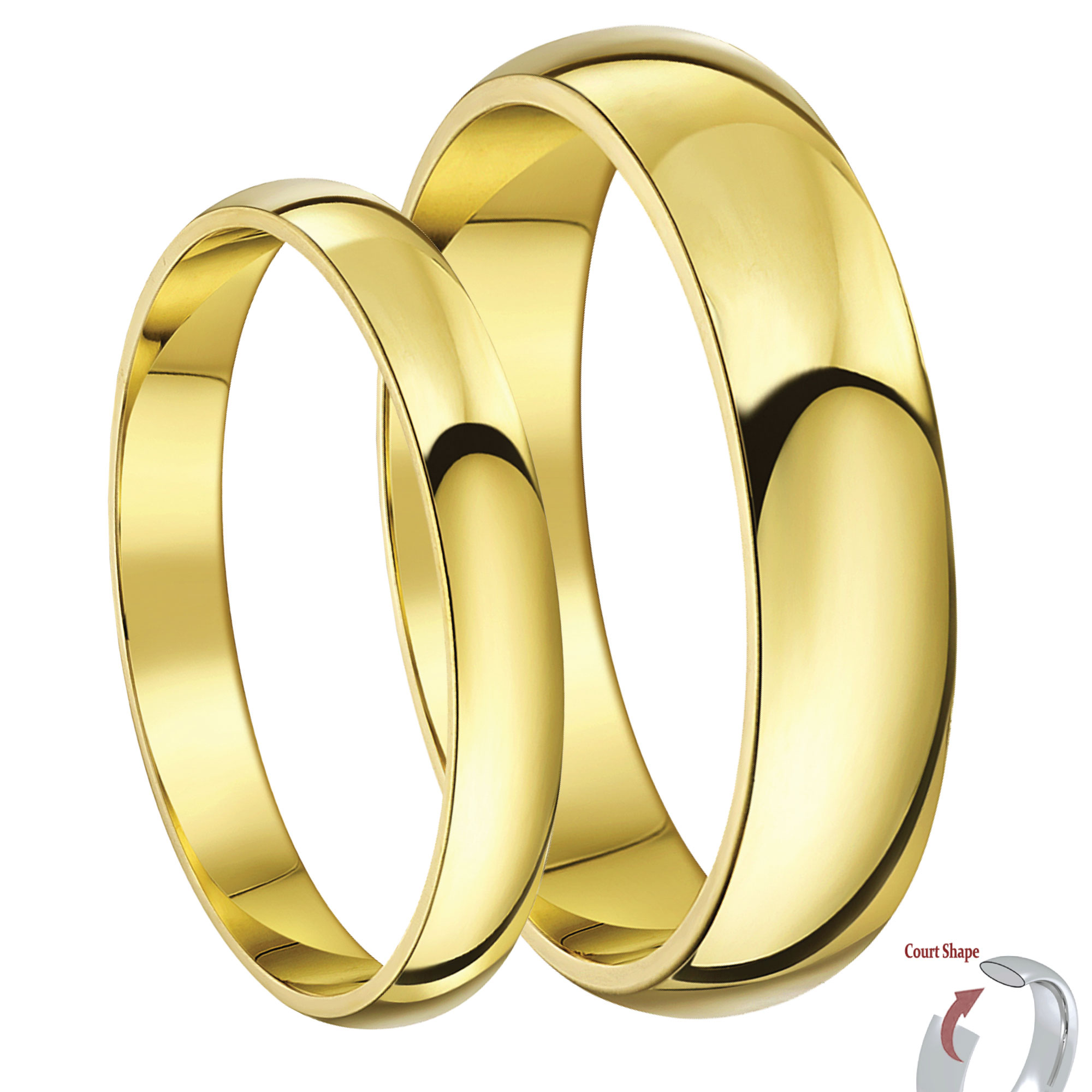 His hers 35mm 9ct yellow gold court shaped wedding ring for 9ct gold wedding ring sets