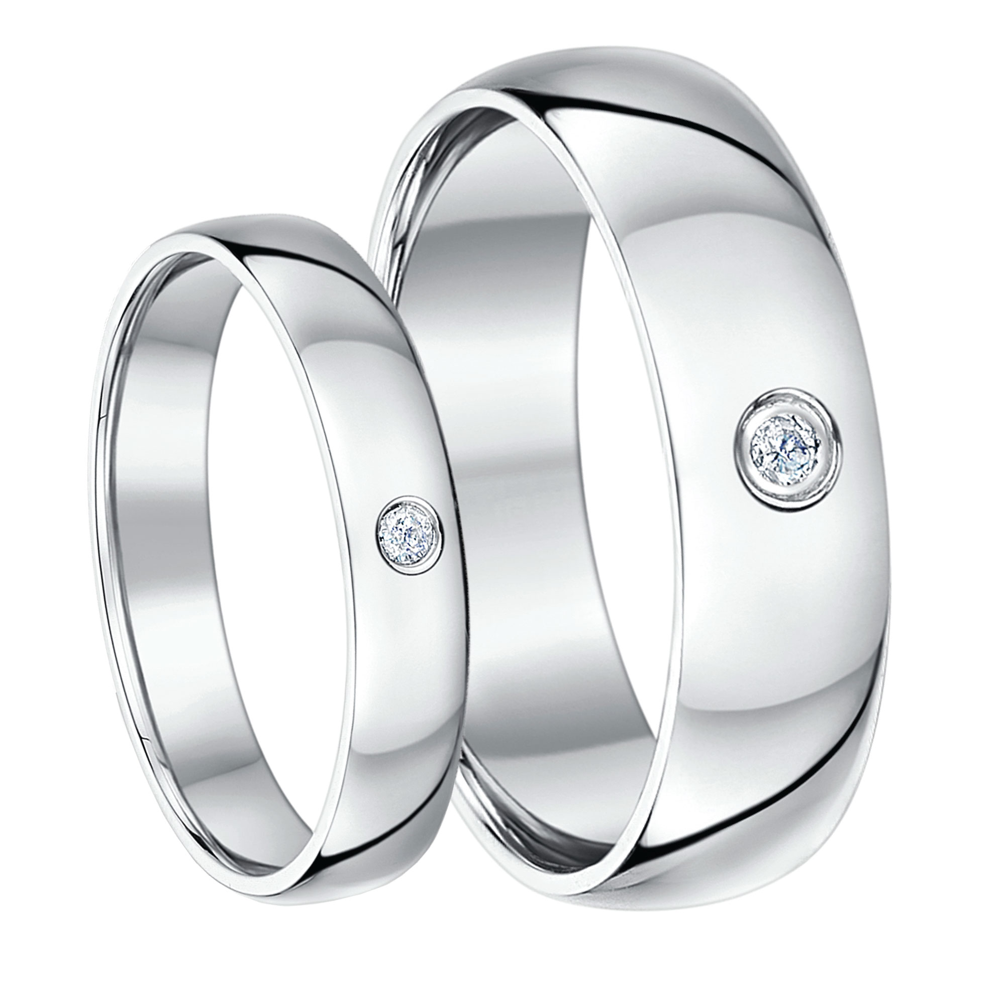 His & Hers 4&6mm Palladium Diamond Heavy Court Wedding Rings