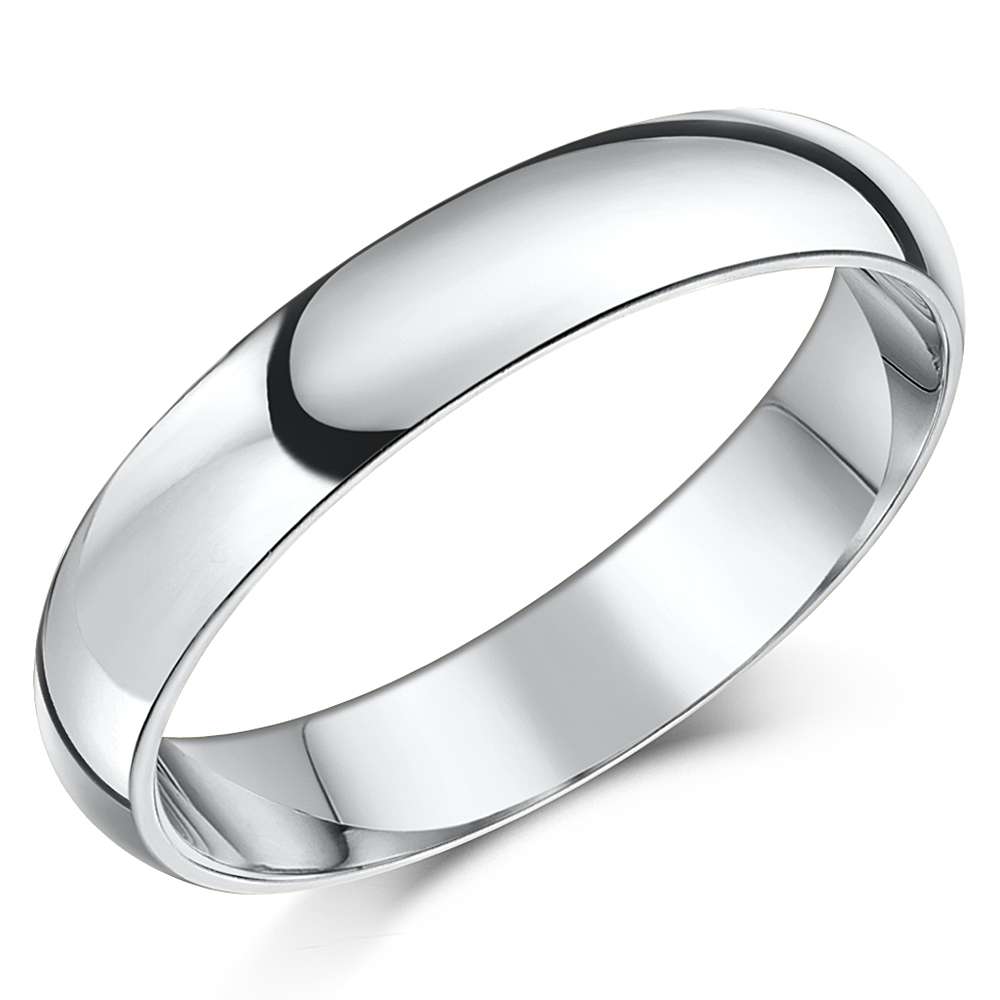 Light Weight - 4mm Platinum Court Shaped Wedding Ring Band