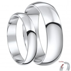 His & Her's 4&6mm Palladium Court Shaped Wedding Rings