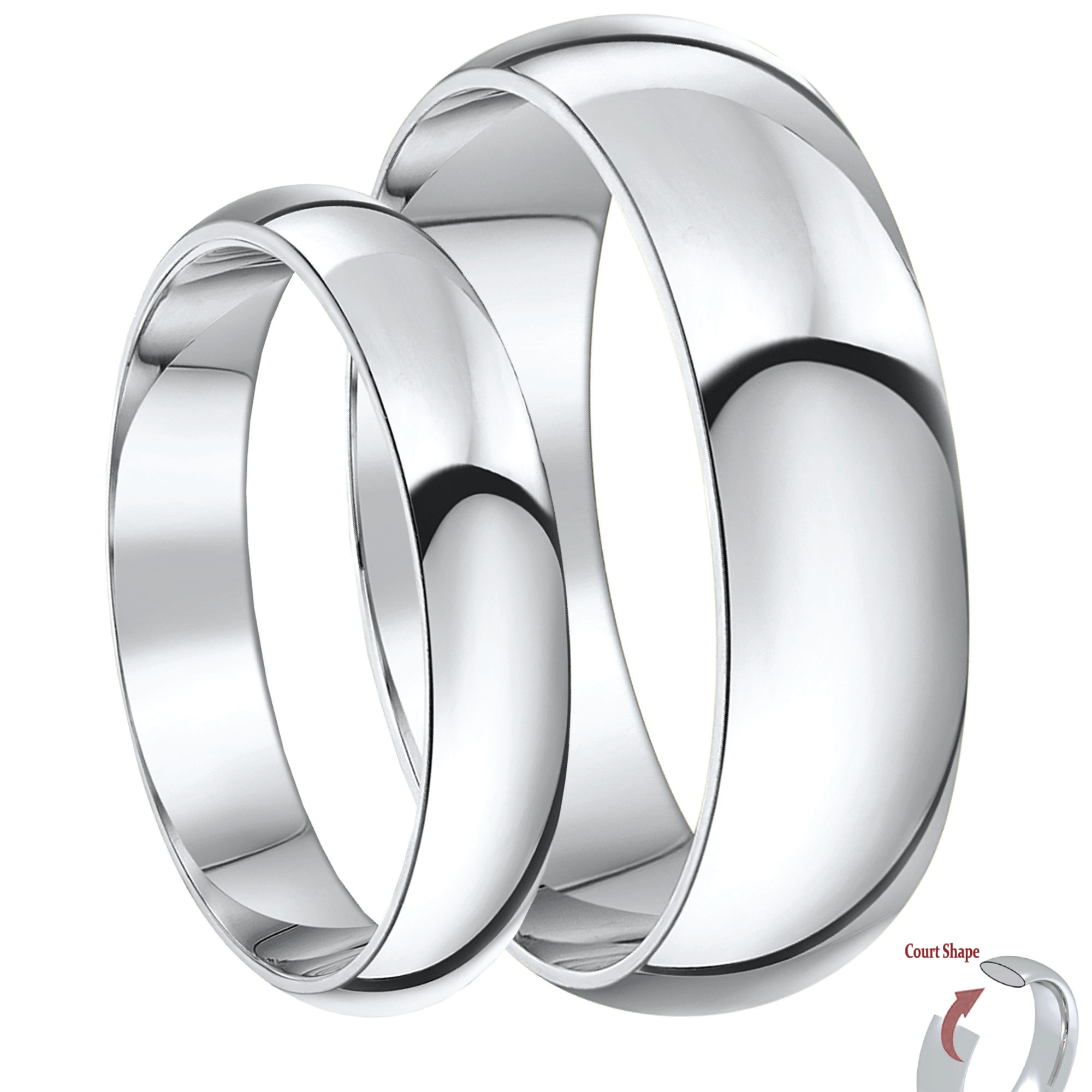 His & Hers Silver Super Heavy Weight Court Wedding Bands 4&6mm