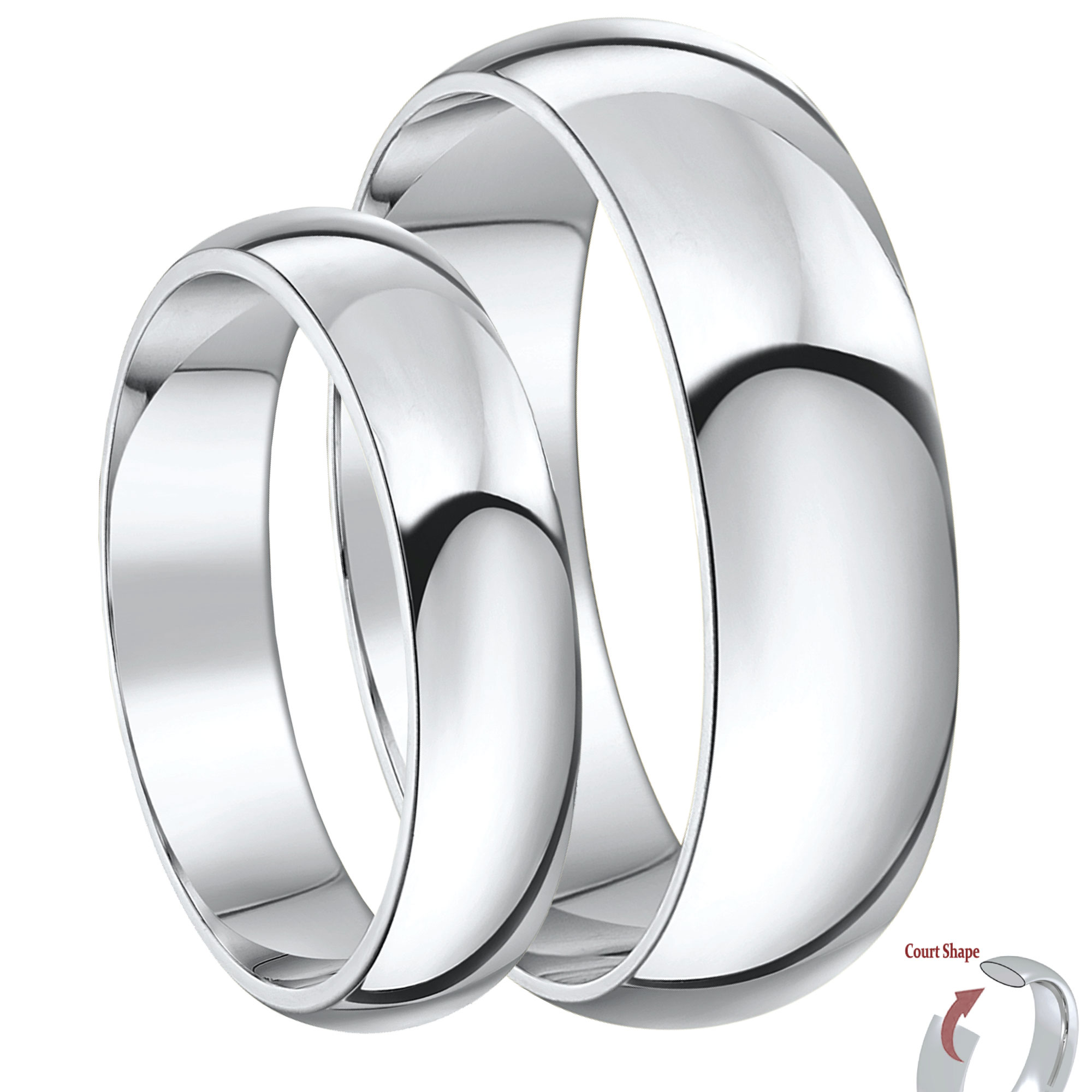 His and Hers 5&6mm Palladium 950 Court Shape Wedding Rings