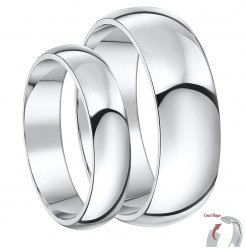His & Hers 5&7mm Palladium 950 Wedding Rings Set