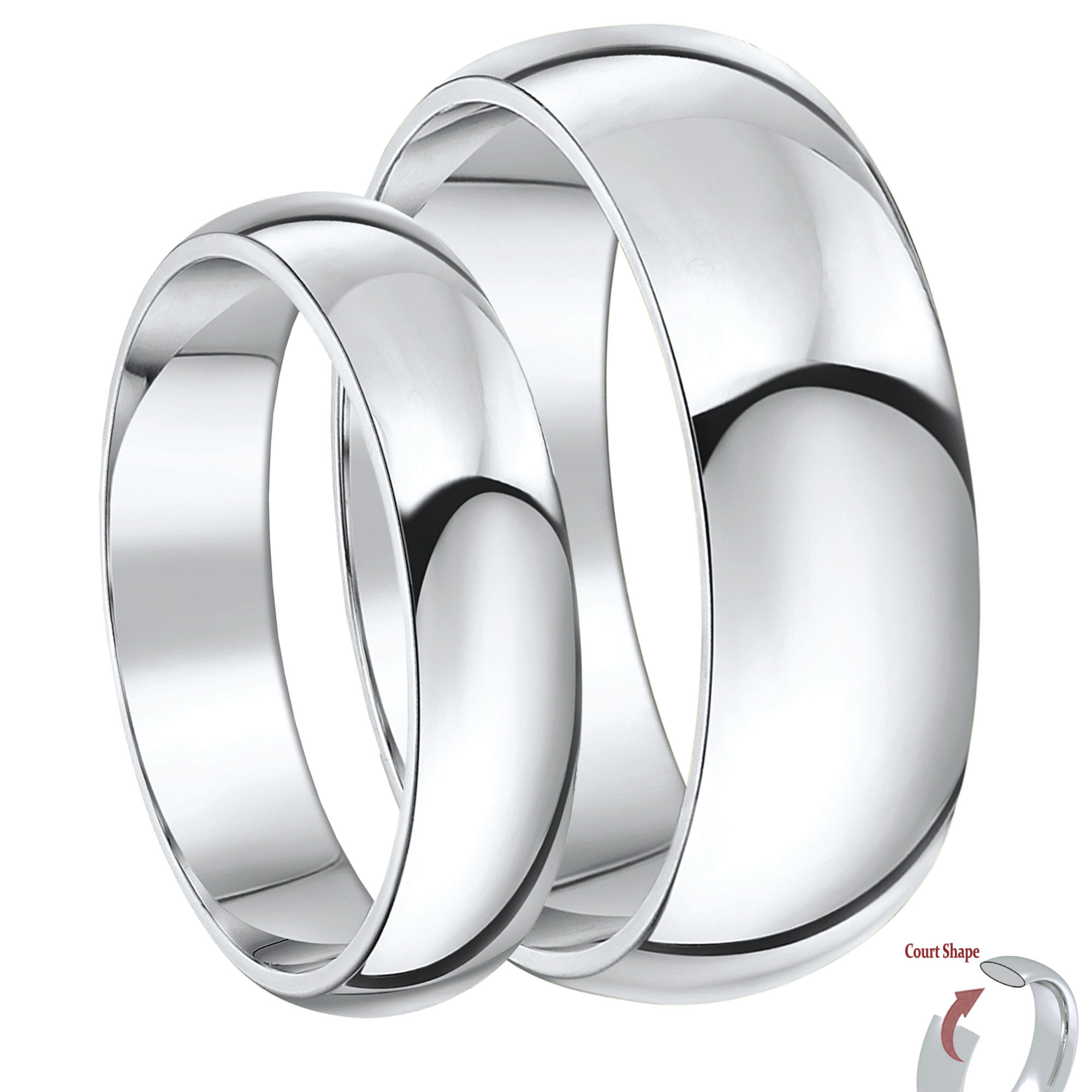 His & Hers 5&7mm Palladium Heavy Court Shape Wedding Rings