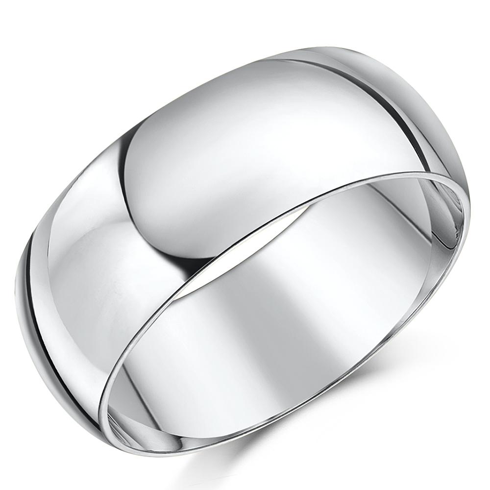 "Platinum ""Court Shaped"" Wedding Ring"