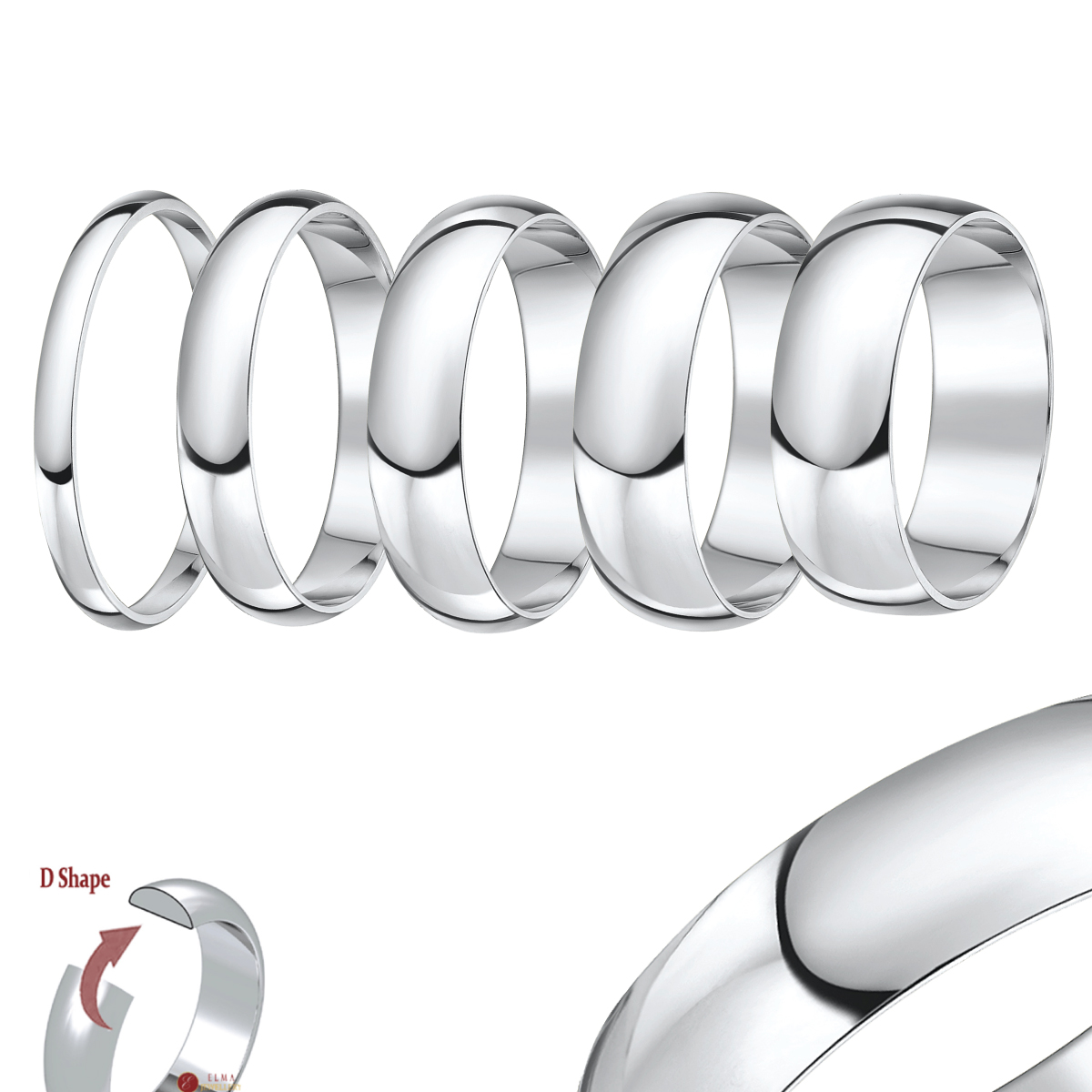 "Palladium ""D"" Shaped Wedding Ring Band"