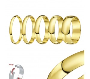 "14ct Yellow Gold ""D Shaped"" Wedding Ring"