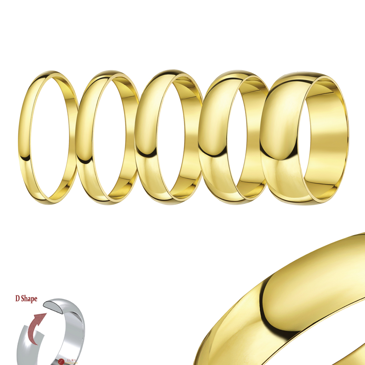 "18ct Yellow Gold ""D Shaped"" Wedding Ring"