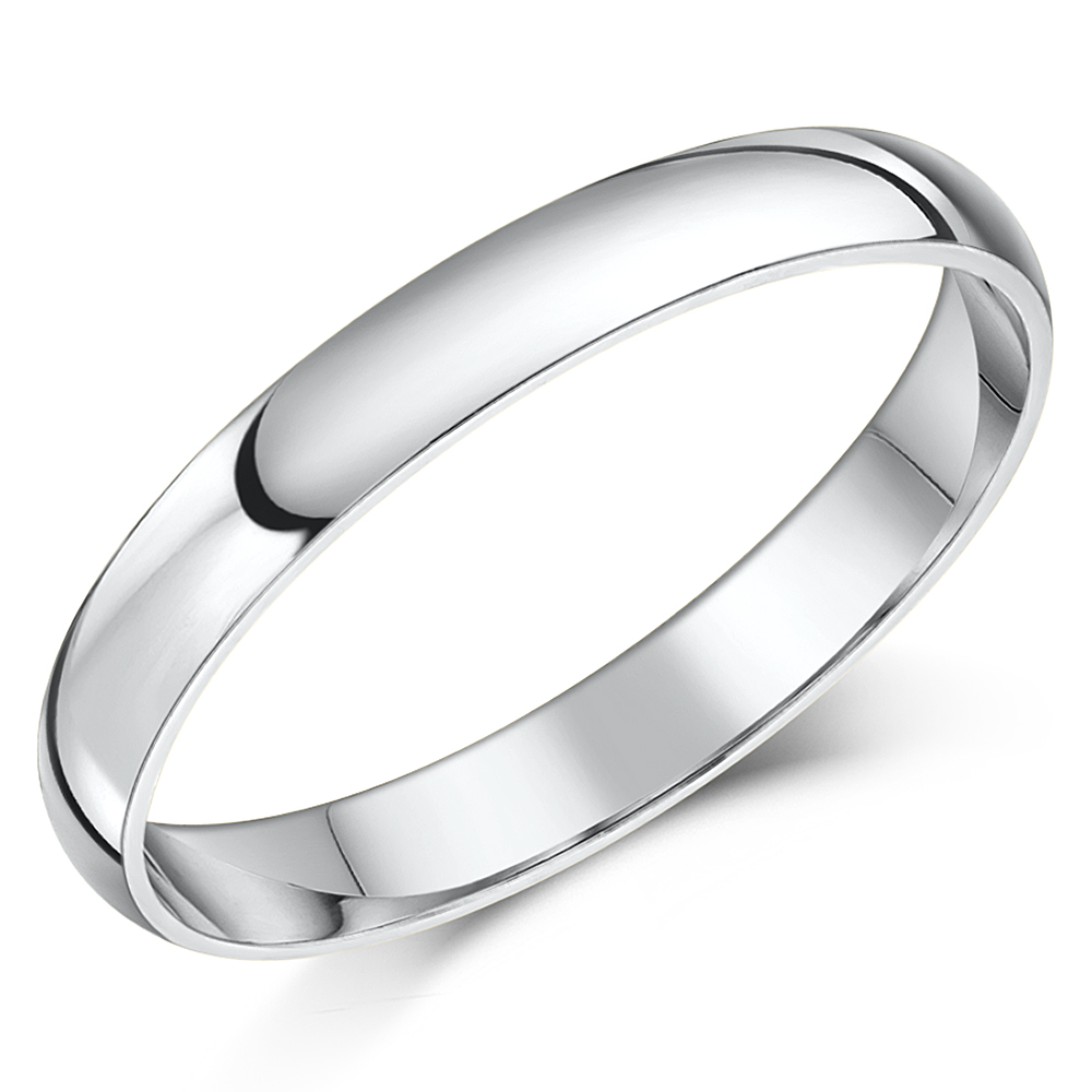 Heavy Weight - 3mm 18ct White Gold D Shaped Wedding Ring - 3mm at ... 9ee9ee3c4efb