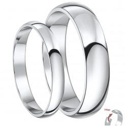 His & Hers 3&5mm Palladium D Shaped Wedding Ring Bands