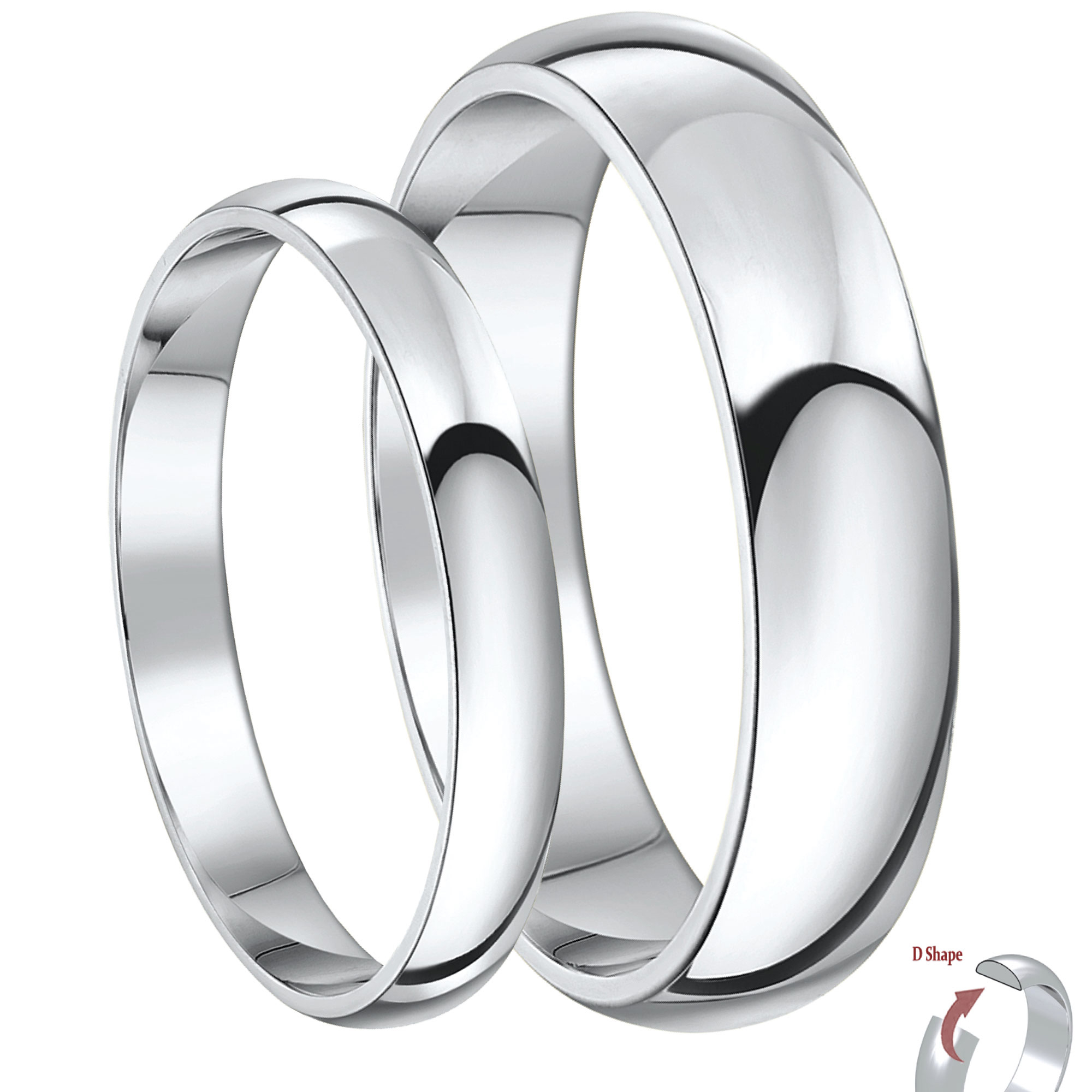 His & Hers 3&5mm 9ct White Gold D Shaped Lightweight Wedding Ring