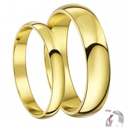 His & Hers 3&5mm 9ct Yellow Gold D Shaped Lightweight Wedding Rings
