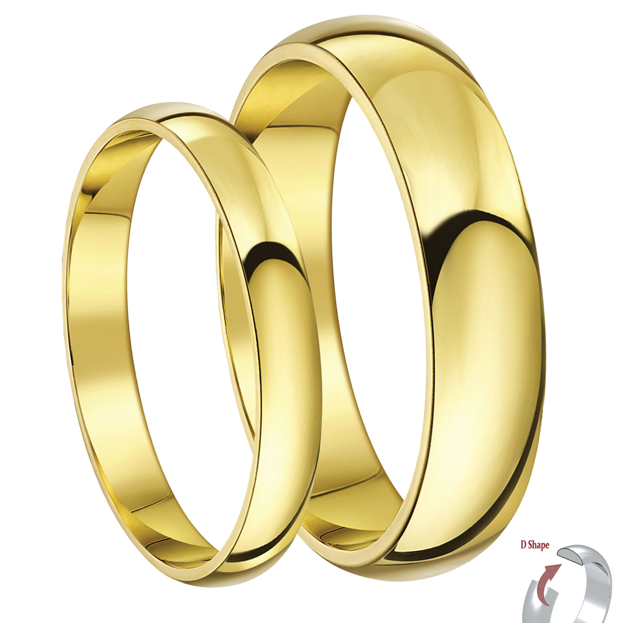 His & Hers 3&5mm 9ct Yellow Gold D Shaped Lightweight