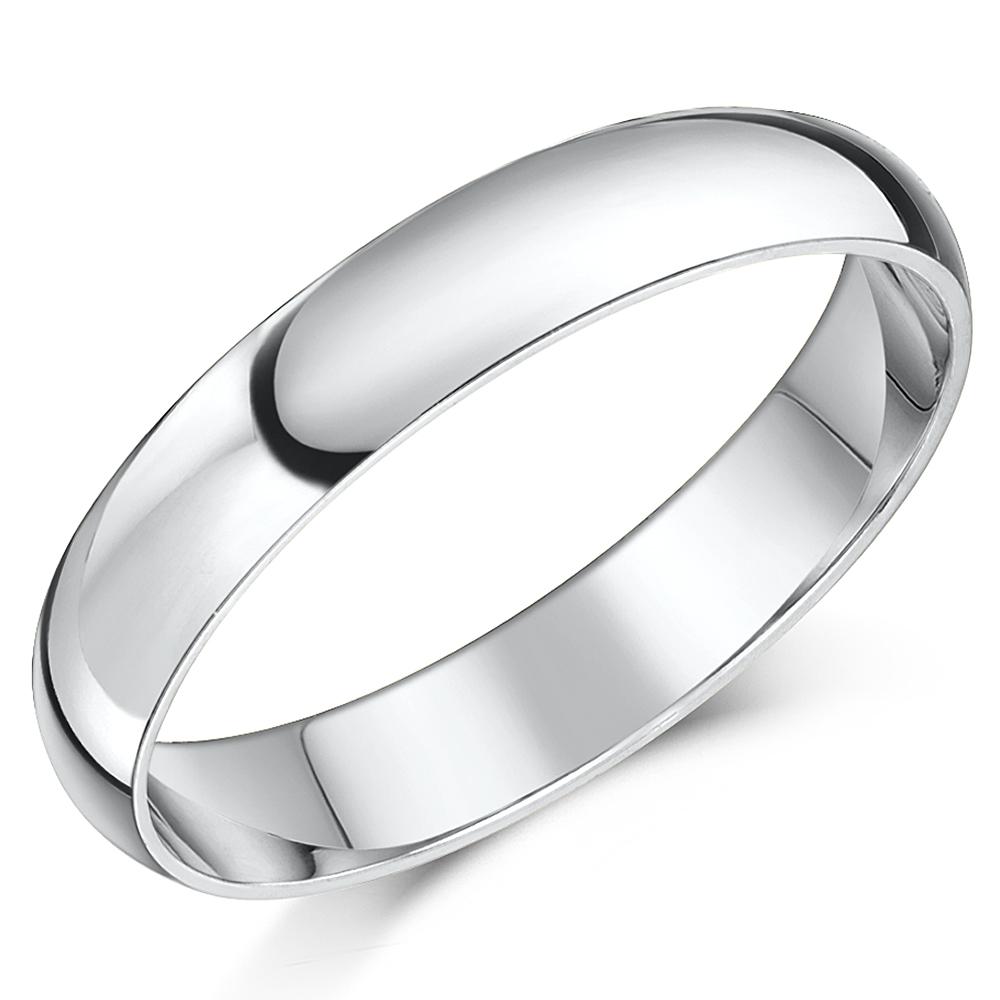 Shaped Wedding Band: 18ct White Gold ''D'' Shaped Wedding Ring