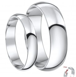 His & Hers 4&6mm Palladium D Shaped Wedding Ring Bands
