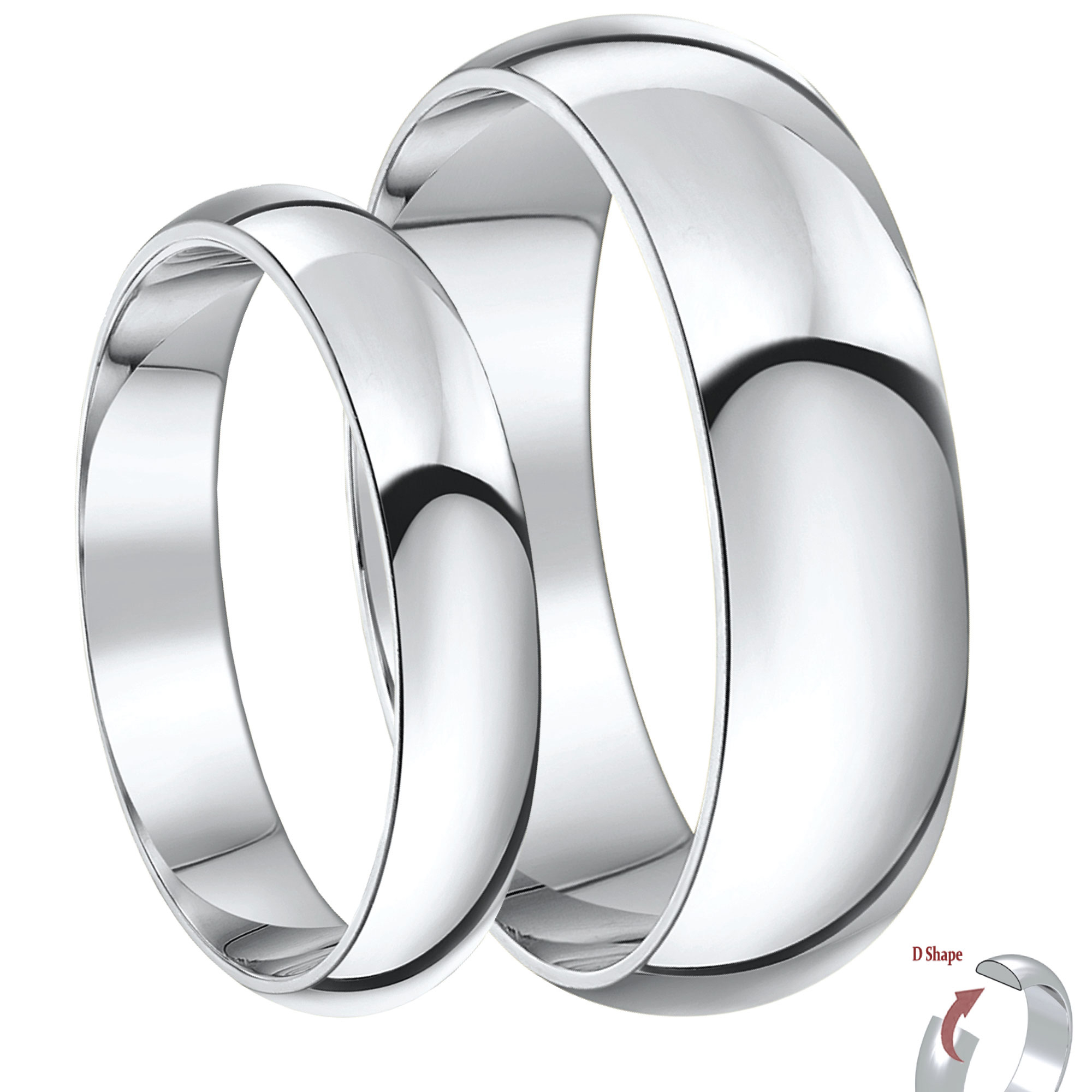 His & Hers 4&6mm 9ct White Gold D Shaped Heavyweight Wedding Ring Bands