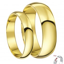 His & Hers 4&6mm 9ct Yellow Gold D Shaped Lightweight Wedding Rings Bands