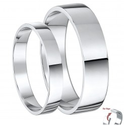 His & Hers 3&5 Palladium Flat Shaped Wedding Ring Bands