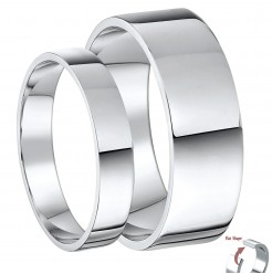 His & Hers 4&6mm 9ct White Gold Flat Shaped Wedding Ring Bands