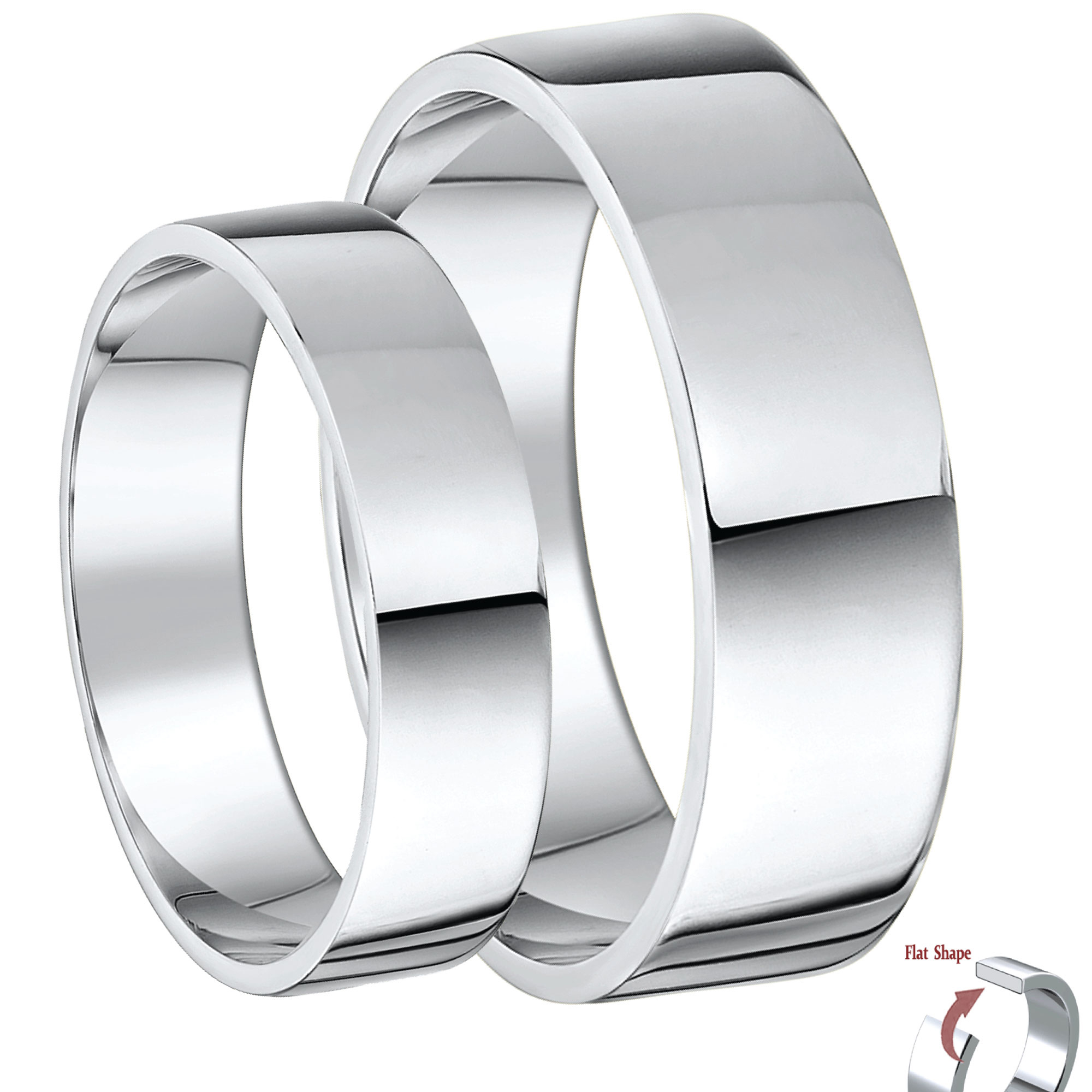 His & Hers 5&7mm 9ct White Gold Flat Shaped Wedding Ring Bands