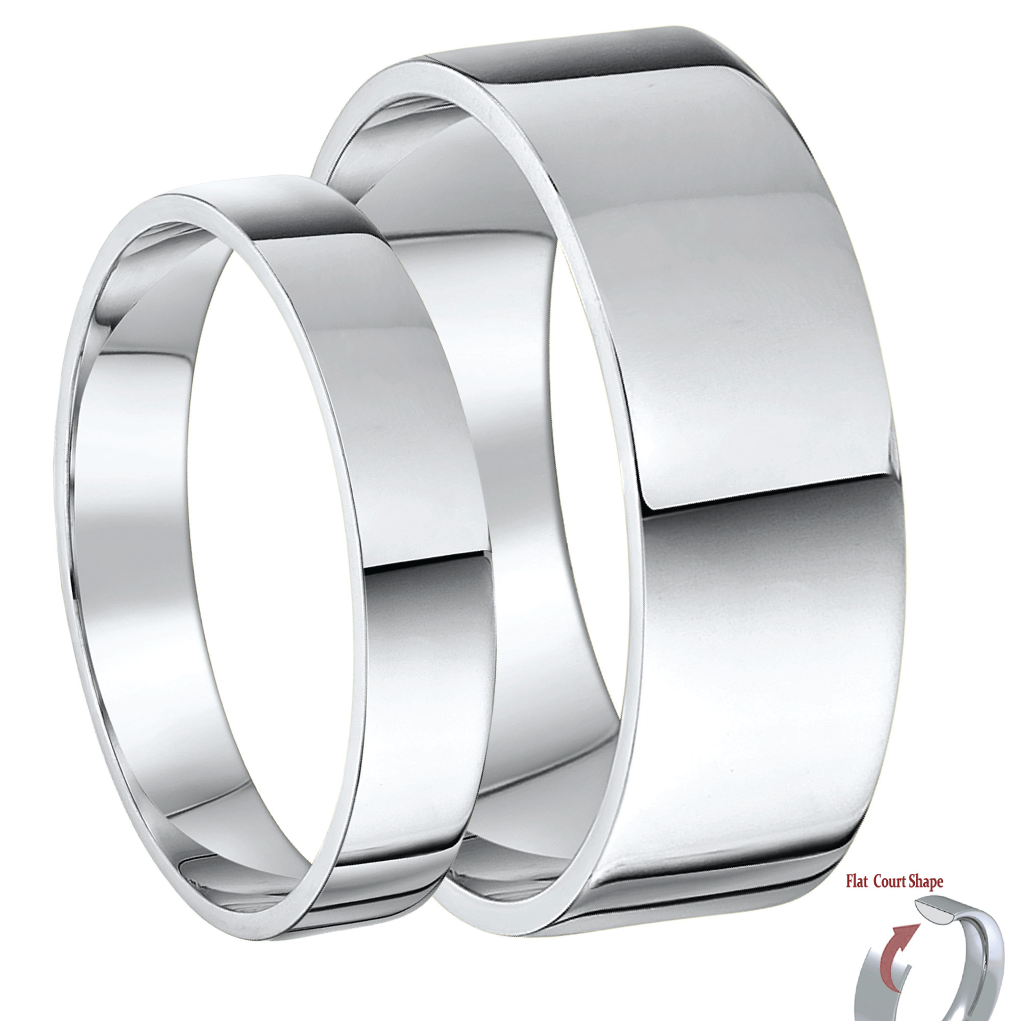 His & Hers 4&6mm Palladium 950 Flat Court Wedding Rings