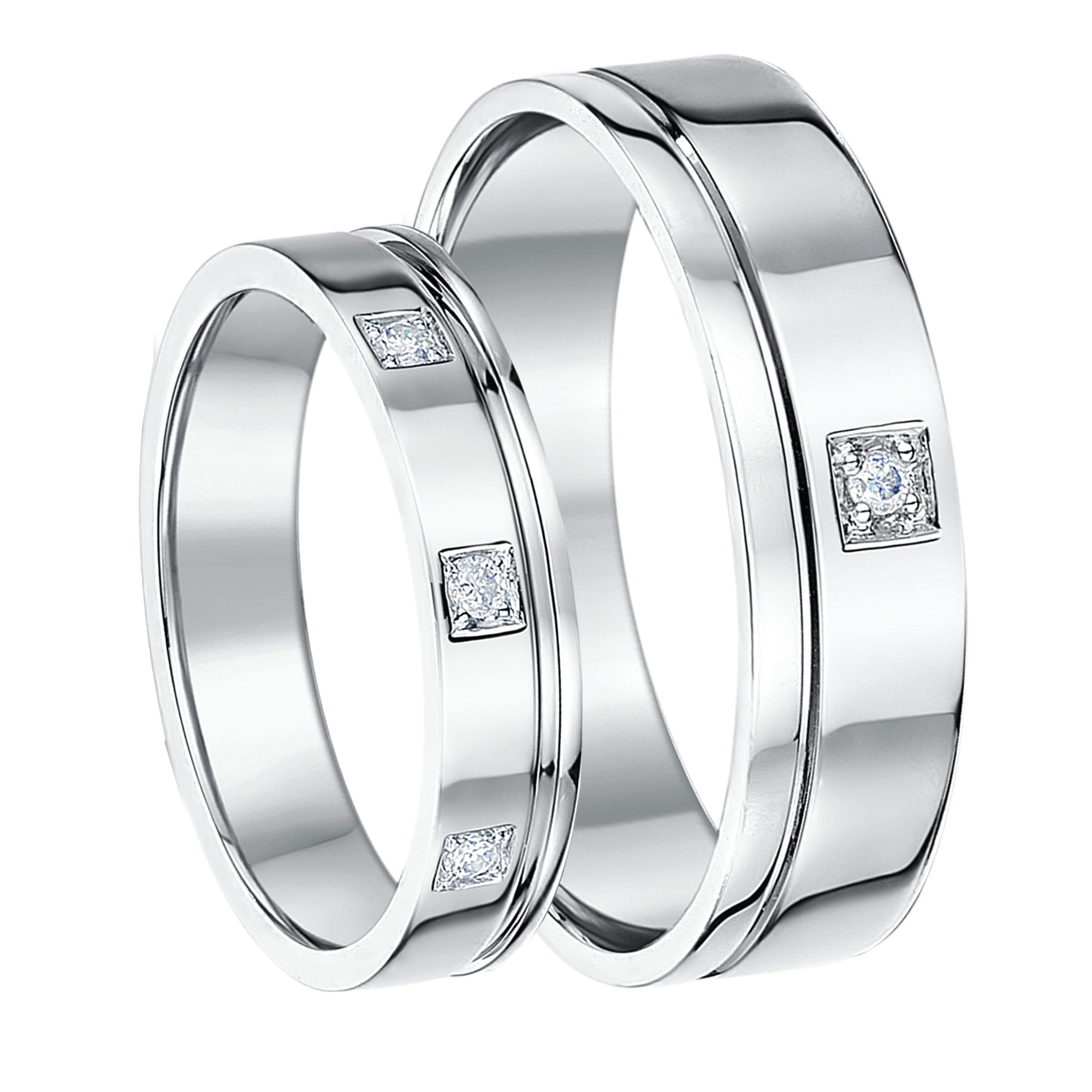 His-Hers 5&6mm 9ct White Gold Diamond Wedding Rings