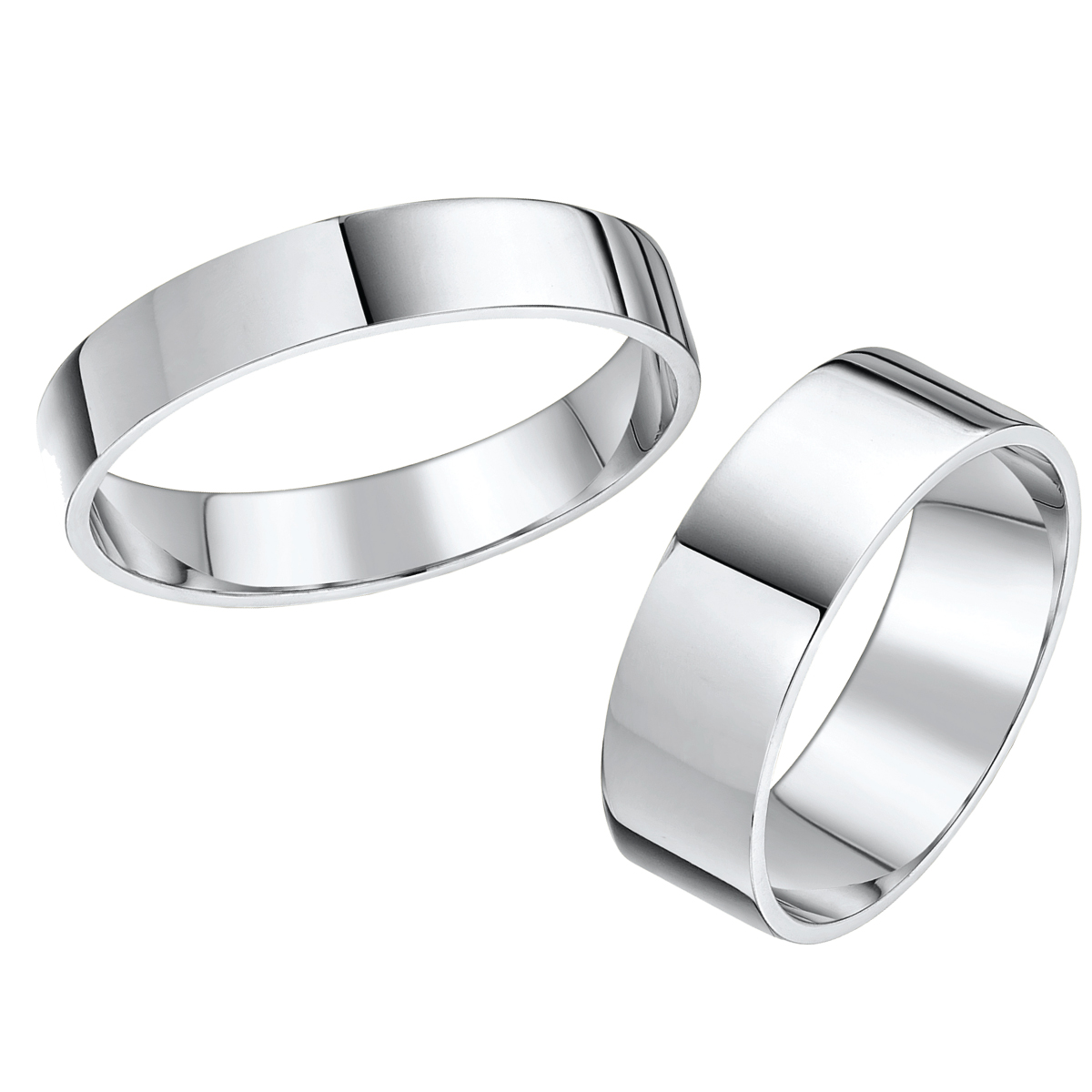 his hers 4 6mm 9ct white gold flat shaped wedding ring
