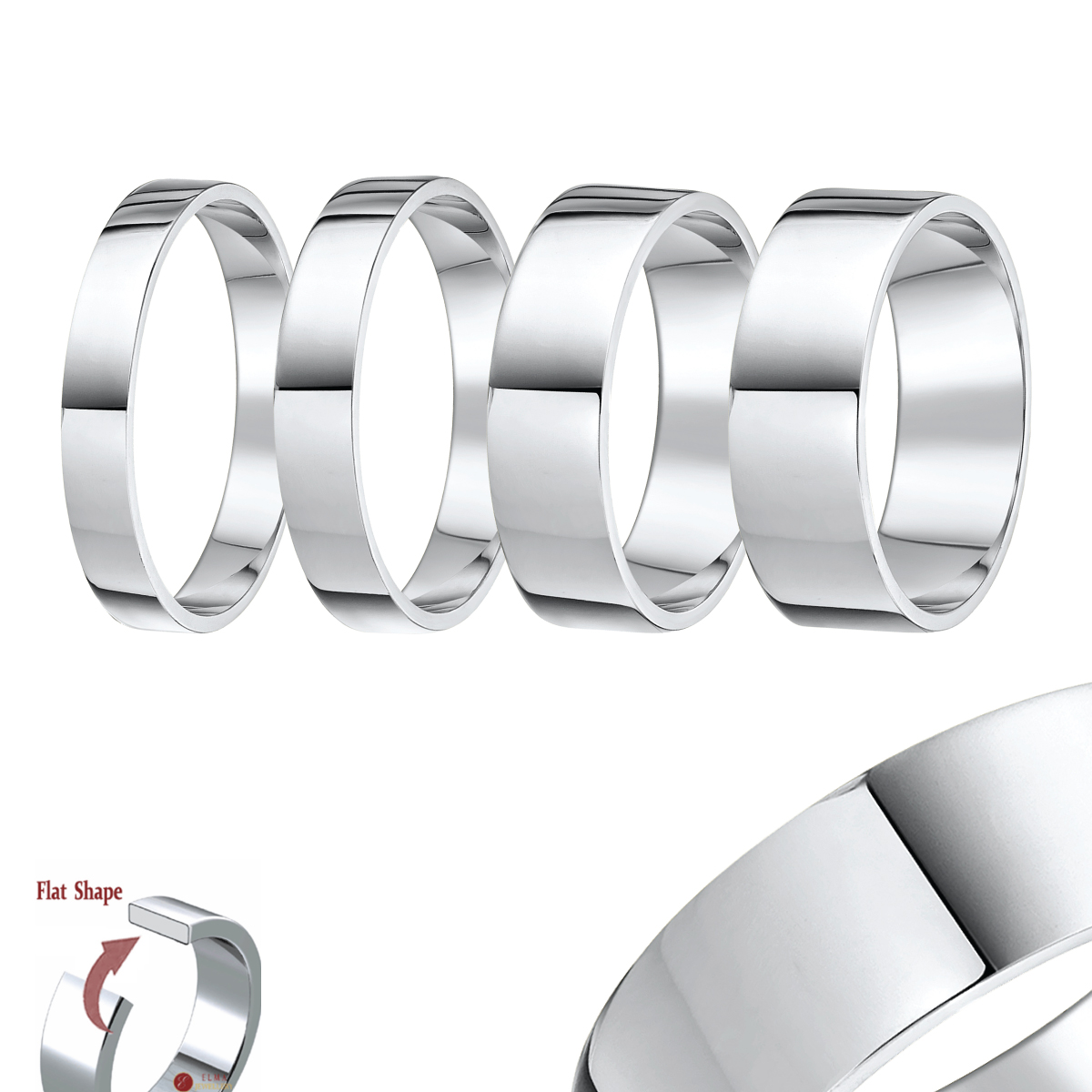 "Palladium ""Flat Shaped"" Wedding Ring Band"
