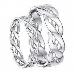 His and Hers 9ct White Gold Hand Made Celtic 5&7mm Rings
