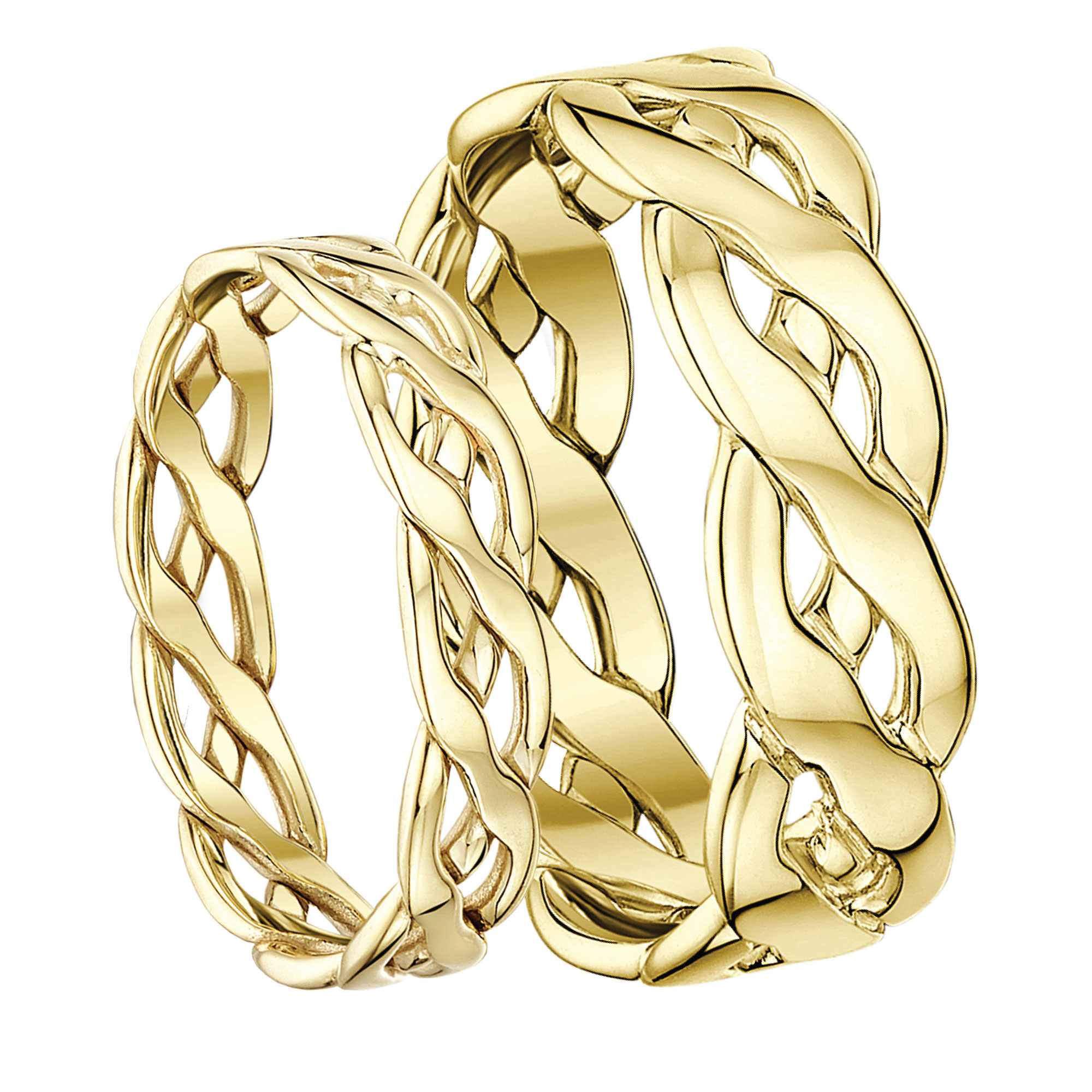 His & Hers 9ct Yellow Gold Hand Made Celtic 5mm and 6mm Rings