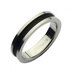 5mm Titanium Black Steel Cable Ring