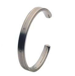 Titanium & Silver Diamond Cuff Bangle