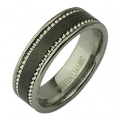 7mm Nickel Free Tungsten & Ceramic Black patterned Ring