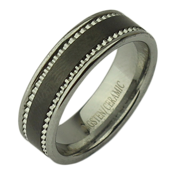 7mm Tungsten &  Ceramic Black patterned Ring