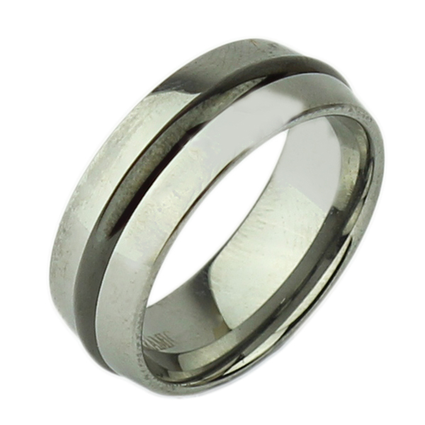 8mm Tungsten & Black Ceramic Strip Wedding Ring