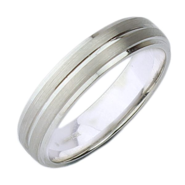 5mm Silver (925) Matt & Polished Grooved Ring