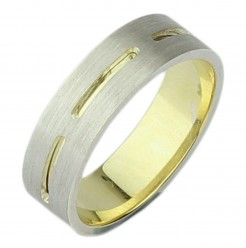 6mm 9ct Yellow Gold & Silver Two Tone