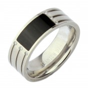 8mm Titanium Grooved Design 6 Diamond Onyx Ring