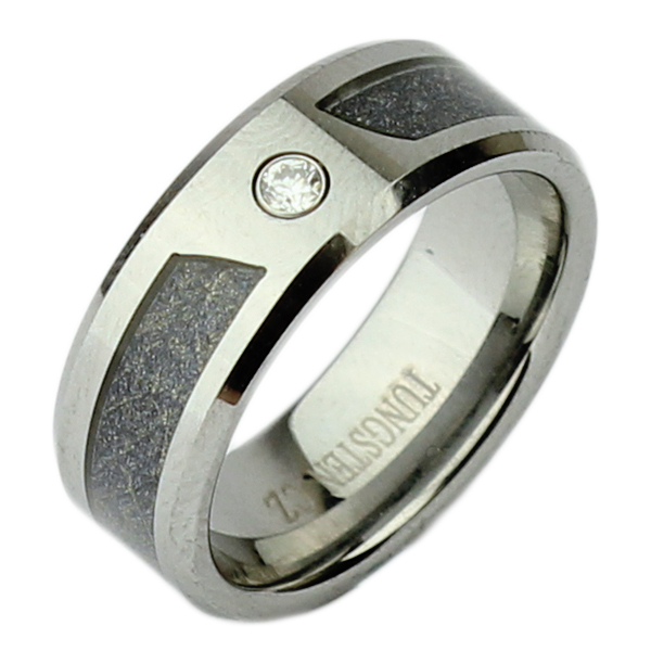 8mm Nickel Free Tungsten High Polished Two Tone Cz Ring