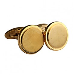 Men\'s Gold Coloured Titanium Round Cufflinks