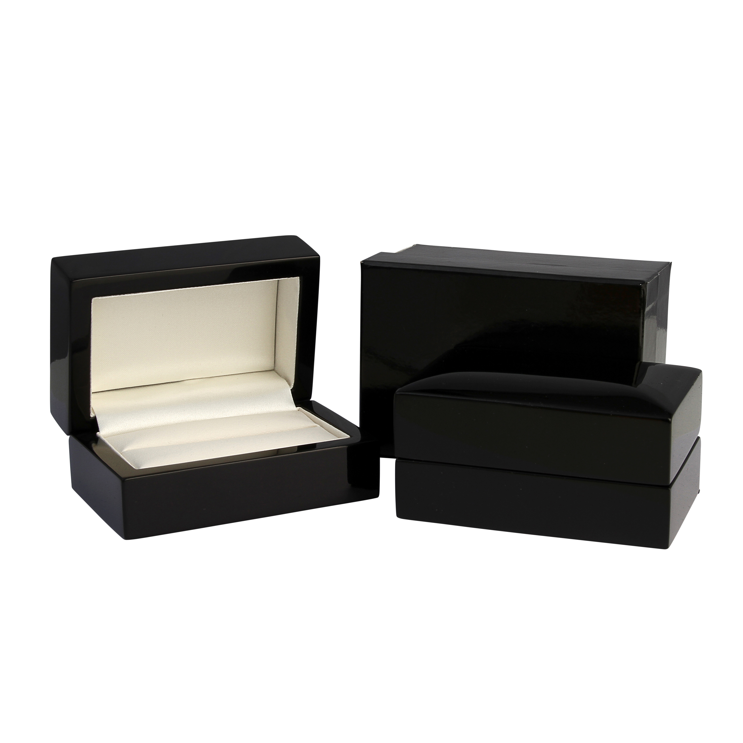 Double Black Wooden Ring Box