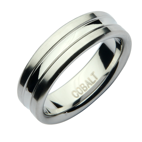 7mm Cobalt Double Groove Wedding Ring Band
