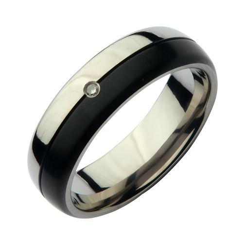 7mm Titanium Black/Silver Design Diamond Wedding Band