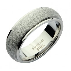 7mm Stainless Steel Silver Sparkle Wedding Ring Band