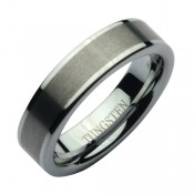 6mm Tungsten Two Tone Matt & Polished Wedding Ring Band