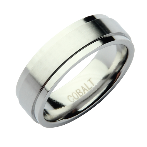 7mm Cobalt Matt & Polished Wedding Band